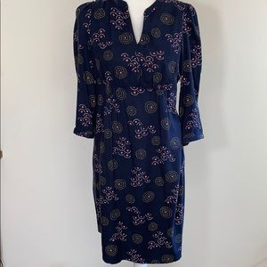 Boden Blue button front 3/4 sleeve dress